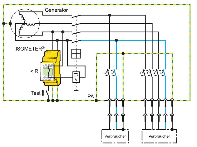 """带有保护措施""""由电气分离绝缘的防护""""的移动电力发电机"""